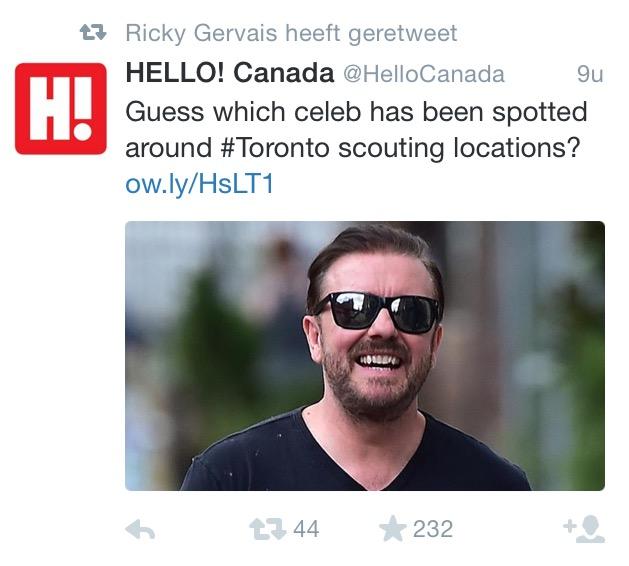 Zou het misschien... Ricky Gervais kunnen zijn? SHOCKING.